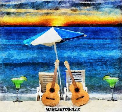 Acoustic Guitar Painting - Jimmy Buffett Paradise by Dan Sproul
