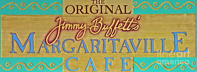 Photograph - Jimmy Buffetts Key West Margaritaville Cafe Sign The Original by John Stephens
