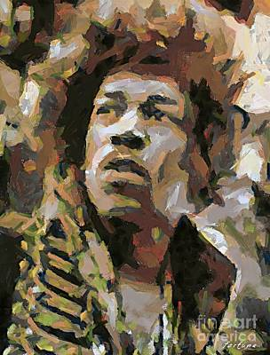 Musicians Painting - Jimmy Hendrix by Dragica  Micki Fortuna