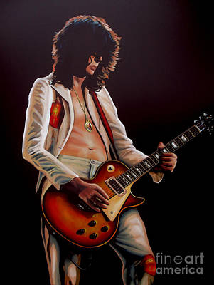 U2 Painting - Jimmy Page In Led Zeppelin Painting by Paul Meijering