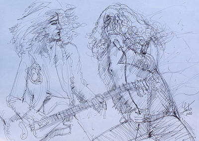 Robert Plant Drawing - Jimmy Page And Robert Plant Live Concert-pen Portrait by Fabrizio Cassetta