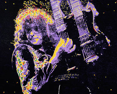 Robert Plant Painting - Jimmy Page by Barry Novis