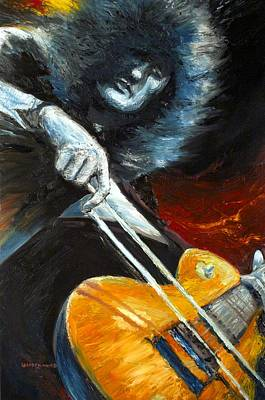 Led Zeppelin Painting - Jimmy Page Dazed And Confused by Mike Underwood