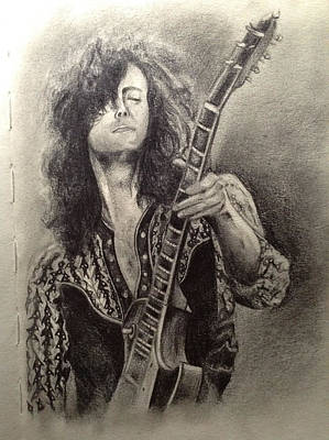 Led Zeppelin Drawing - Jimmy Page by Dinara Guliyeva