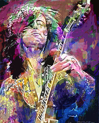 Jimmy Page Painting - Jimmy Page Electric by David Lloyd Glover