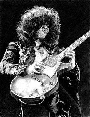 Led Zeppelin Drawing - Jimmy Page  by Irvin Fonseca