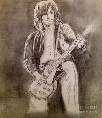 Led Zeppelin Drawing - Jimmy Page by Manon Zemanek
