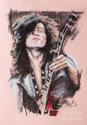 Jimmy Page Drawing - Jimmy Page by Melanie D