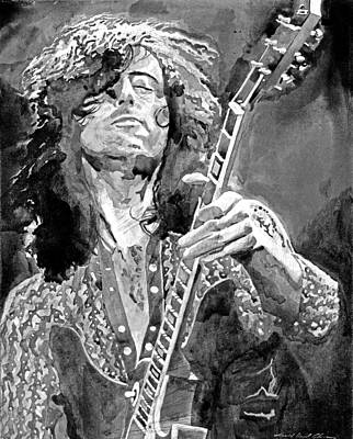 Musicians Royalty Free Images - Jimmy Page Mono Royalty-Free Image by David Lloyd Glover