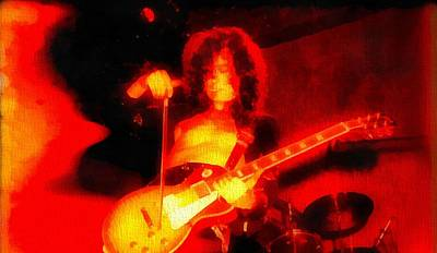 Yardbirds Painting - Jimmy Page On Fire by Dan Sproul