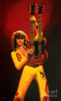 Gibson Painting - Jimmy Page Painting by Paul Meijering
