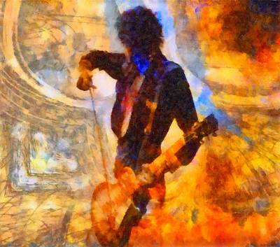 Music Paintings - Jimmy Page Playing Guitar With Bow by Dan Sproul