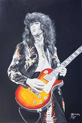 Painting - Jimmy Page Portait by Bruce Schmalfuss