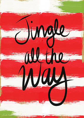 Calligraphy Mixed Media - Jingle All The Way- Greeting Card by Linda Woods