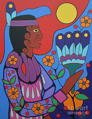Pow Wow Painting - Jingle Dress Dancer by Jim Oskineegish