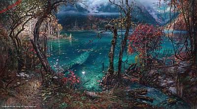 Cao Yong Painting - Jiuzhaigou Valley 3 by Cao Yong