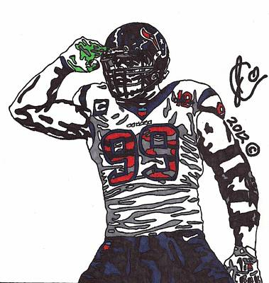 Nfl Player Drawings Drawing - Jj Watt 1 by Jeremiah Colley