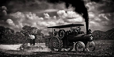 Jl Case 65hp Steam Tractor Plowing - Monochrome Art Print by F Leblanc