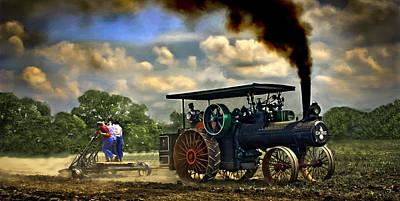 Jl Case 65hp Steam Tractor Plowing Art Print by F Leblanc