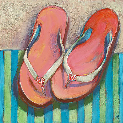 Beach Decor Painting - Pink Flip Flops by Jen Norton