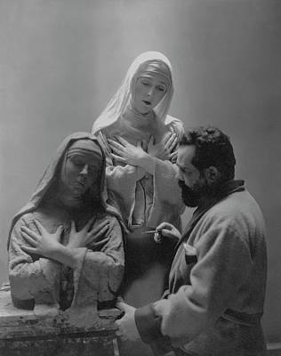 The Virgin Mary Photograph - Jo Davidson Completing His Sculpture Bust Of Lady by Edward Steichen