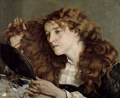 A Hand Mirror Painting - Jo The Beautiful Irish Girl by Gustave Courbet