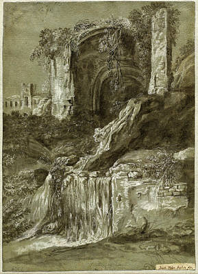 Wash Drawing - Joachim Franz Beich, German 1665-1748, A Waterfall by Litz Collection