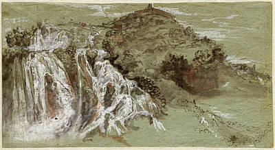 Wash Drawing - Joachim Franz Beich, German 1665-1748, The Waterfalls by Litz Collection