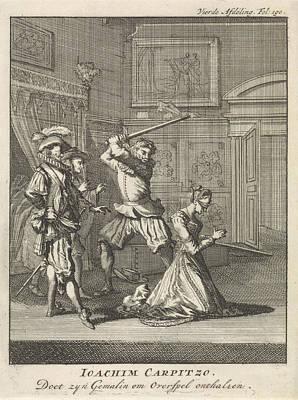 Joachim Von Carpzov Orders His Wifes Beheading Art Print by Jan Luyken