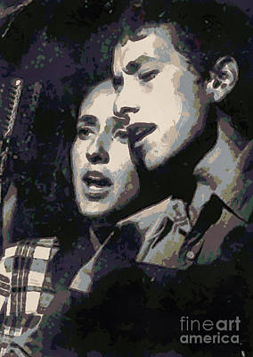 Joan Baez And Bob Dylan Art Print by Paulette B Wright