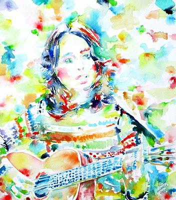 Joan Baez Painting - Joan Baez Playing - Watercolor Portrait by Fabrizio Cassetta