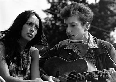 Joan Baez With Bob Dylan Art Print by Celestial Images
