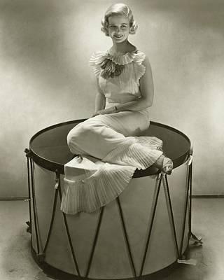 Chiffon Photograph - Joan Bennett Sitting On An Oversized Drum by Edward Steichen