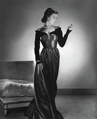 Joan Bennett Wearing A Velvet Dress Art Print by Horst P. Horst