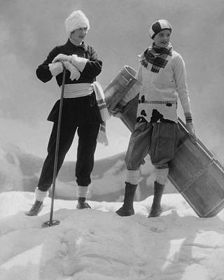 Winter Landscape Photograph - Joan Clement And Lee Sherman In The Snow by Edward Steichen