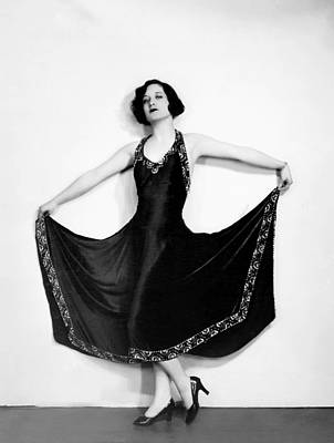 Full Skirt Photograph - Joan Crawford, In A Black Satin Gown by Everett