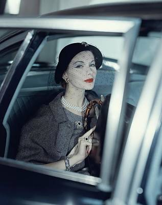 Fashion Photograph - Joan Friedman In A Car by Clifford Coffin