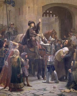 Joan Of Arc 1412-31 Leaving Vaucouleurs, 23rd February 1429 Oil On Canvas Art Print by Jean-Jacques Scherrer