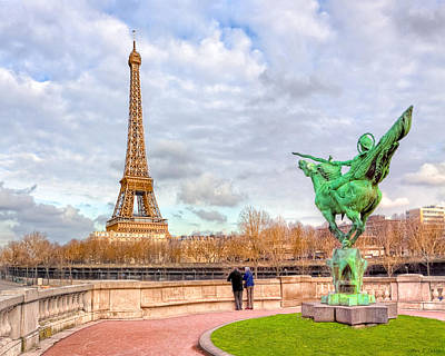 World Heritage Sites Photograph - Joan Of Arc And The Eiffel Tower by Mark E Tisdale