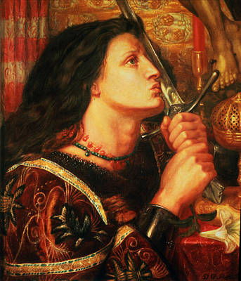 Heroism Painting - Joan Of Arc Kissing The Sword by Dante Gabriel Charles Rossetti