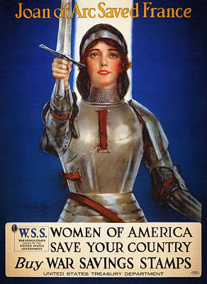 Stamps Drawing - Joan Of Arc War Stamps Poster 1918 by Mountain Dreams
