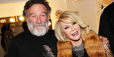 Mixed Media - Joan Rivers And Robin Williams by Marvin Blaine
