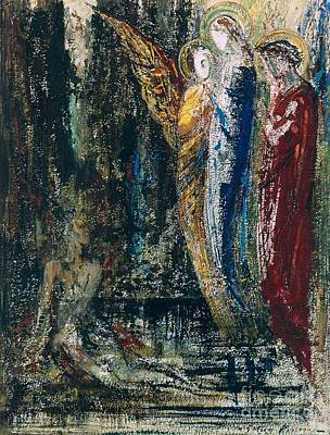 Test Painting - Job And The Angels by Gustave Moreau