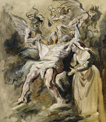 Females Torsos Painting - Job Tormented By The Demons by Ferdinand Victor Eugene Delacroix