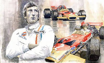 Sports Star Painting - Jochen Rindt Golden Leaf Team Lotus Lotus 49b Lotus 49c by Yuriy  Shevchuk