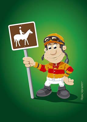 Jockey Cartoon Man Horse Trail Sign Art Print
