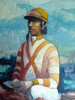Horserace Painting - Jockey by Dan Strand