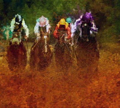 Racetrack Digital Art - Jockeys by Dan Hill