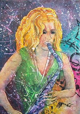 Painting - Jodi On Sax by Carol Losinski Naylor
