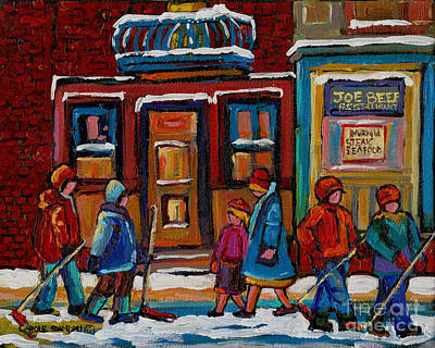 Rue Notre Dame Painting - Joe Beef Restaurant And Boys With Hockey Sticks by Carole Spandau